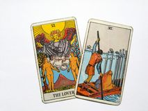 占卜用的纸牌占卜隐密魔术 图库摄影
