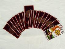 占卜用的纸牌小组视图 库存照片