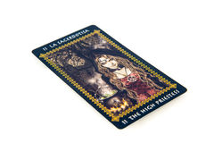 占卜用的纸牌高女教士 Favole tarot甲板 神秘的背景 库存图片