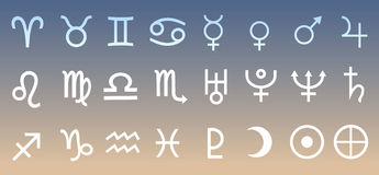 占星术传染媒介的行星,天文学符号集例证 免版税库存图片