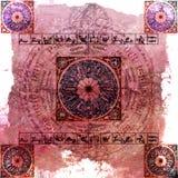 占星术背景脏的玫瑰色黄道带 免版税库存照片
