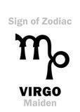 占星术:黄道带处女座的标志未婚 免版税库存照片
