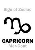 占星术:黄道带摩羯座的标志梅尔山羊 库存图片