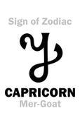 占星术:黄道带摩羯座的标志梅尔山羊 免版税库存图片
