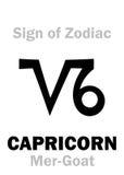 占星术:黄道带摩羯座的标志梅尔山羊 库存照片