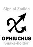 占星术:黄道带OPHIUCHUS的标志蛇持有人 免版税库存照片