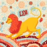 占星术黄道带标志利奥或狮子 一部分的一套占星标志 库存图片