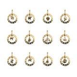 占星珠宝符号十二黄道带 图库摄影