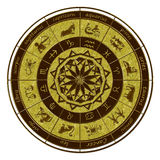 占星轮子黄道带 库存照片