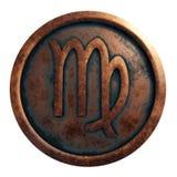 占星铜圈子的标志处女座 免版税库存图片