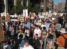 占用波士顿大规模上街抗议 免版税库存照片