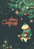 贺卡、熊和鸟在圣诞节下 库存图片