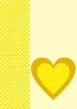 贺卡一黄色心脏和许多小白色一个 图库摄影
