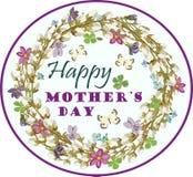 贺卡与母亲与花卉元素的` s天 也corel凹道例证向量 库存照片