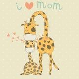 贺卡为与逗人喜爱的长颈鹿的母亲节 库存照片