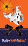 贺卡为与鬼魂和蜘蛛网的假日万圣夜 库存照片
