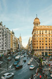 卡亚俄广场和Gran通过街道,马德里 库存图片