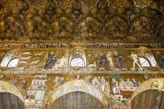 卡佩拉Palatina教堂的天花板在Palazzo dei Normanni里面的在巴勒莫,西西里岛,意大利 库存图片