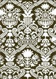 卡其色和白色抽象花卉样式葡萄酒背景 免版税库存图片