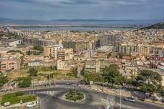卡利亚里市,撒丁岛海岛,意大利全景  库存图片