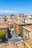卡利亚里老镇,撒丁岛,意大利鸟瞰图  免版税库存照片