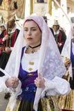 卡利亚里,意大利- 2017年5月1日:361 Sant ` Efisio -撒丁岛宗教队伍  免版税库存图片