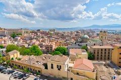 卡利亚里,撒丁岛,意大利看法  免版税库存照片