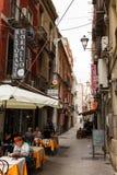 卡利亚里4月27日2017年,意大利 在卡利亚里老镇的看法  义卖市场 图库摄影