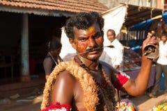 卡利市爱好者的画象  Shivarathri的庆祝在印度 卡纳塔克邦, Gokarna, 2017年2月 库存图片