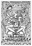 卡利市,有死亡标志的印地安北印度的女神 被刻记的幻想例证 皇族释放例证