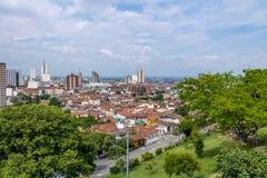 卡利市-卡利,哥伦比亚鸟瞰图  免版税库存图片