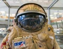 卡卢加州,俄罗斯, 2017年9月17日:俄国宇航员太空服在卡卢加州太空博物馆 库存图片