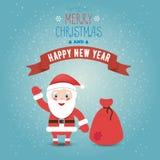 贺卡圣诞快乐和与圣诞老人clau的新年好 免版税库存照片