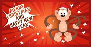 贺卡圣诞快乐和与猴子的新年好 库存图片