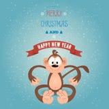 贺卡圣诞快乐和与滑稽的修士的新年好 免版税库存图片