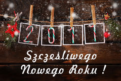 贺卡在擦亮剂的新年2017年 免版税库存图片