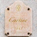 卡地亚商标在米兰,意大利专属地区  库存图片