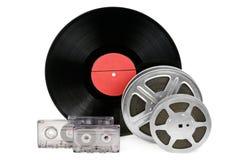 卡型盒式录音机、纪录和影片小条 免版税库存图片