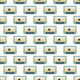 卡型盒式录音机无缝的样式 免版税库存照片