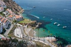 卡塔利娜海岛度假村鸟瞰图  库存图片