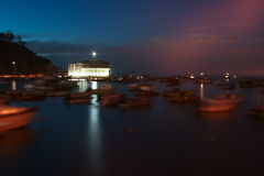 卡塔利娜赌博娱乐场Avalon海湾夜 库存图片