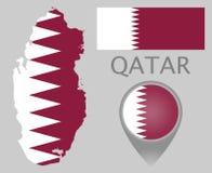 卡塔尔旗子、地图和地图尖 向量例证