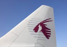 卡塔尔空中航线飞机,多哈 库存照片