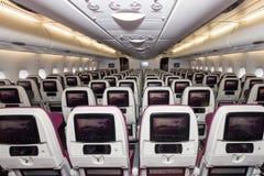 卡塔尔A380客舱 免版税库存图片