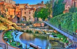 卡塔尼亚希腊罗马剧院在西西里,意大利 免版税库存照片