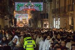 卡塔尼亚,意大利- 2016年西西里岛的2月05日圣徒阿佳莎 库存照片