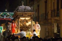 卡塔尼亚,意大利- 2016年西西里岛的2月05日圣徒阿佳莎 免版税库存图片