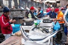 卡塔尼亚,特点西西里人的鱼市,意大利 免版税图库摄影