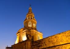卡塔赫钠哥伦比亚钟楼 库存图片
