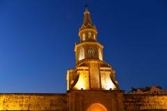 卡塔赫钠哥伦比亚钟楼 图库摄影